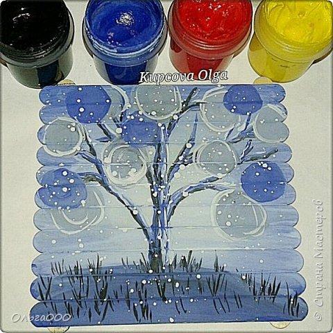Подставочки под чашку из палочек от мореженого фото 16