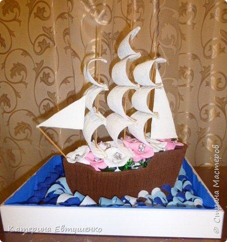 """У моей тети день рождения 7 марта и подарок нужно делать на два праздника сразу. Хотела чем-то удивить. Искала в интернете МК кораблей, все очень красивые, но хотелось что-то свое, необычное. Вот и решила сделать корабль в """"открытом море"""" . Подобного нигде еще не видела. Именно по этому решила выложить МК, чтобы кто-то мог воспользоваться идеей. Сперва кажется, что это занимает очень много времени. Но если считать, что подготовку к 8 марта я начала за 2 недели, и мне за это время удалось сделать корабль, букет мамочке и примерно 10 открыток (и у меня еще оставалось время поспать и сделать уроки), то он делается очень быстро. фото 27"""