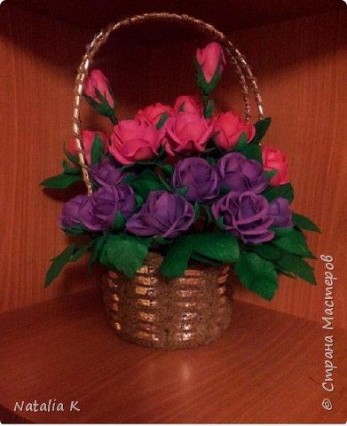 Это моя первая работа с фоамираном - розы в корзине)))) фото 1