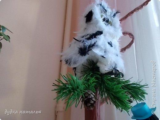 Вот такая полярная совушка у меня получилась из ваты и перьев. фото 2