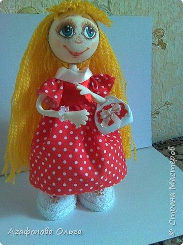 Моя вторая куколка из фоамирана. Платье из ткани, ручки и ножки гнутся. фото 2