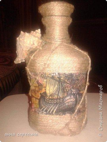Декор бутылки шпагатом фото 4