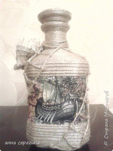 Декор бутылки шпагатом фото 1