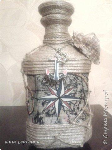 Декор бутылки шпагатом фото 2