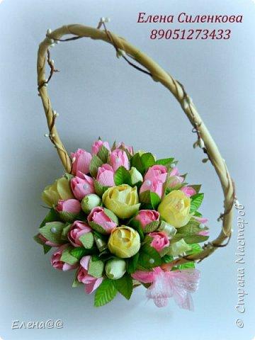 Добрый день жители СМ. Я медленно возвращаюсь к любимому занятию и хочу показать вам работы к 8 марта! Корзина с тюльпанами и розами. Конфеты Арфа и Рафаэлло. Эта корзина будет подарена хорошему доктору когда будем вписываться домой. фото 1