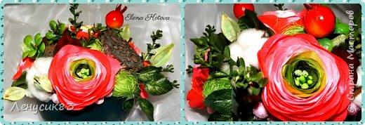 Вот такая красота у меня получилась))) В композиции использованы:  ранункулюсы, шиповник, искусственная зелень, сахарные ягоды, керамика, сухоцветы: коробочки лотоса, хлопчатник, сухоцвет пирамидка, сизаль. фото 2