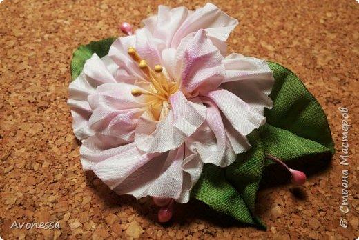 """Цветок из тафты, """"полу-шибори"""".МК"""
