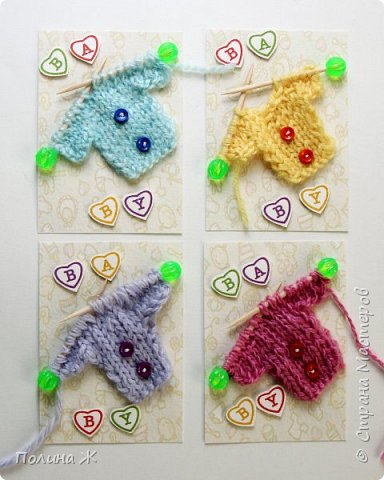 Я небольшой мастер в таком виде рукоделия как вязание , я только учусь. Вот что у меня получилось . Идея не новая , нашла на просторах интернета . И конечно решила воплотить в свои карточки АТС.  фото 1