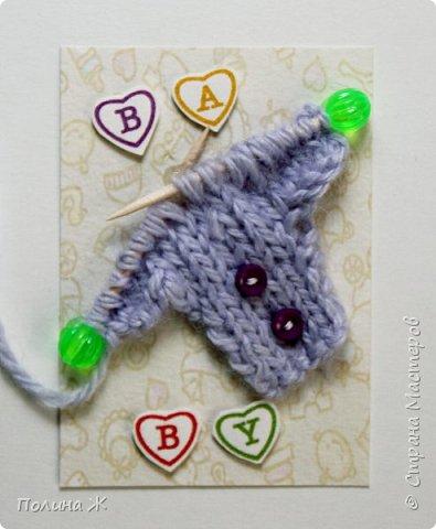 Я небольшой мастер в таком виде рукоделия как вязание , я только учусь. Вот что у меня получилось . Идея не новая , нашла на просторах интернета . И конечно решила воплотить в свои карточки АТС.  фото 3