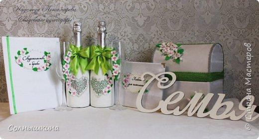 Здравствуйте! Показываю свадебный набор, который делала для своей весенней апрельской свадьбы. Прошел уже почти год..)) Свадьба была  зеленом цвете, хотелось побольше весенних цветов. фото 1