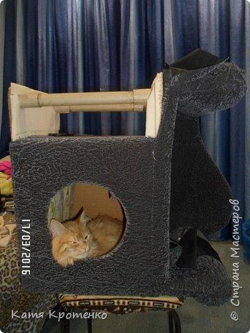 Приветствую всех жителей СМ. Наш любимец - Крысилий очень любит всякие коробки, пуфики и диваны, вот решила сотворить ему свой собственный. это мой первый кошачий дом. размер: Длина - 53см, высота - 55 см, ширина - 32 см. фото 8
