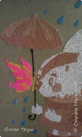Добрый день,Страна Мастеров! Хочу показать свою работу из яичной скорлупы.Первой задумкой было выкладывать из скорлупы,а потом раскрасить.Дети сказали не красить, поэтому зонтик получился вот такой (начинала с него). Фото не очень. фото 4