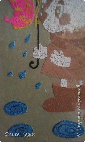 Добрый день,Страна Мастеров! Хочу показать свою работу из яичной скорлупы.Первой задумкой было выкладывать из скорлупы,а потом раскрасить.Дети сказали не красить, поэтому зонтик получился вот такой (начинала с него). Фото не очень. фото 3