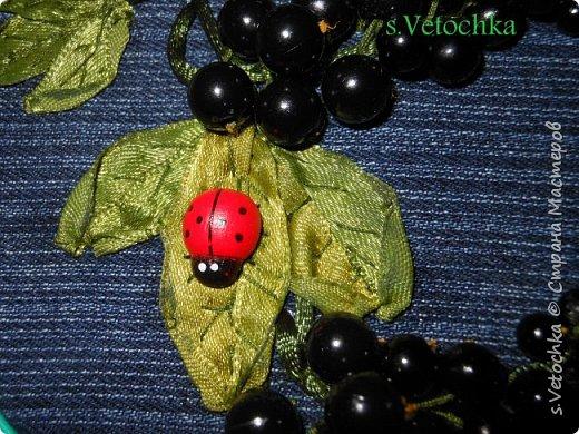 Листья вышиты лентами. Ягоды-бусины. Веточки-шнур. фото 4