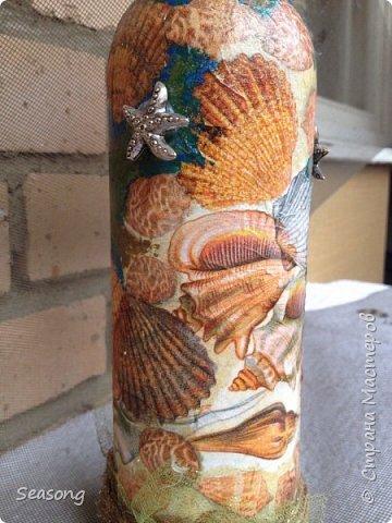 Морская стихия любима мной с детства. В комплекте 4 бутылочки, плюс баночка (матроскин) и светильник (лампадка) - огни будут добавлены чуть позже. Вот они 4 красавицы - главные, трудоемкие. фото 12