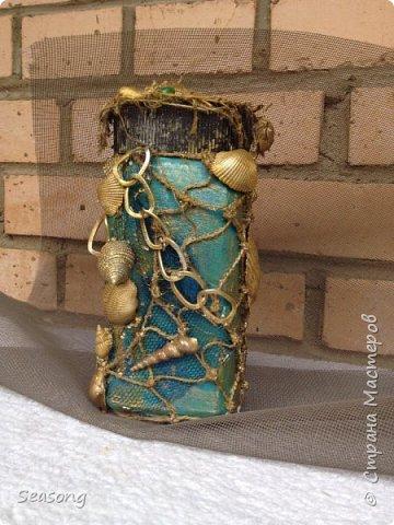 Морская стихия любима мной с детства. В комплекте 4 бутылочки, плюс баночка (матроскин) и светильник (лампадка) - огни будут добавлены чуть позже. Вот они 4 красавицы - главные, трудоемкие. фото 10