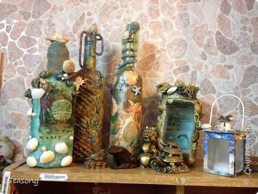 Морская стихия любима мной с детства. В комплекте 4 бутылочки, плюс баночка (матроскин) и светильник (лампадка) - огни будут добавлены чуть позже. Вот они 4 красавицы - главные, трудоемкие. фото 13