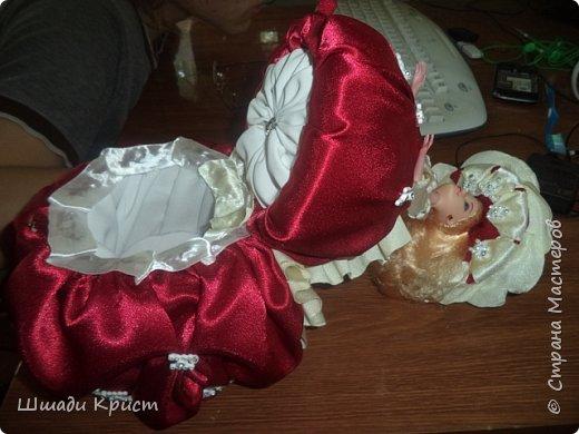 кукла-шкатулка.40см. пластик, прессвата, паралон,бусы,стразы,бисер, фатин,крепсатин,ленты фото 2