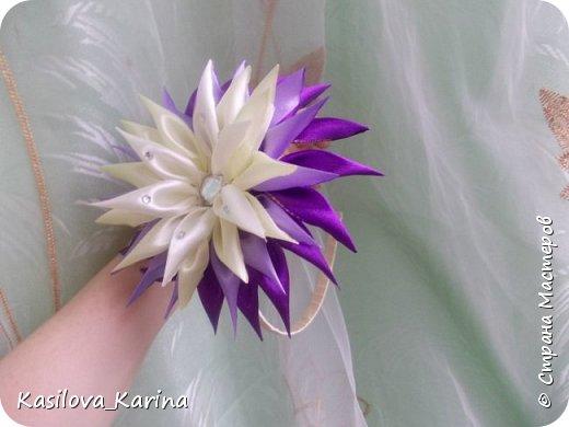 Ободочки с большим цветком из атласных лент. Хвастик=) фото 1