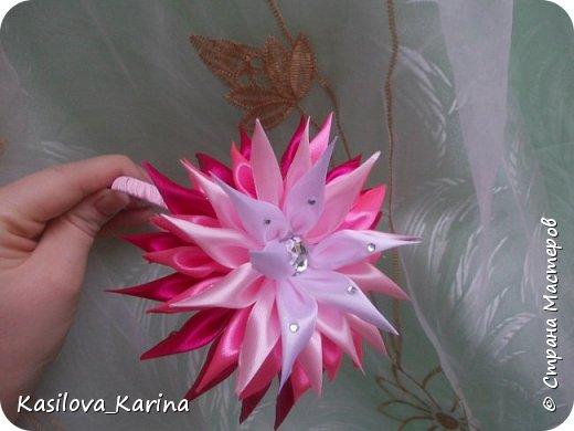 Ободочки с большим цветком из атласных лент. Хвастик=) фото 3