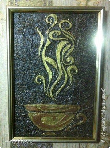 Добрый день! Вот сотворились два панно кофейно-кухонные. Первый чайник с пожеланиями поведения на кухне))) фото 5