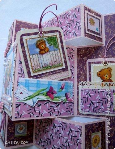 Доброго дня мастерицам! Открытку сделала сложной формы под заказ, ко дню рождения девочки. Использовала картинки, цветочки пластик покупные, шнур, полубусины. Сделала два тежика, на одном пожелание, на втором имя девочки, для кого открытка. фото 6
