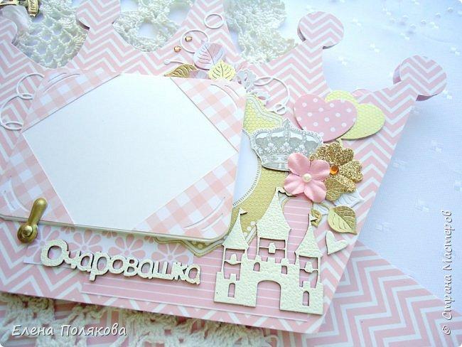 Добрый день! Сегодня я покажу мини-альбом для принцессы,  которая живет в розовой сказочной стране, где царит любовь, цветут золотые цветы и порхают феечки. фото 14