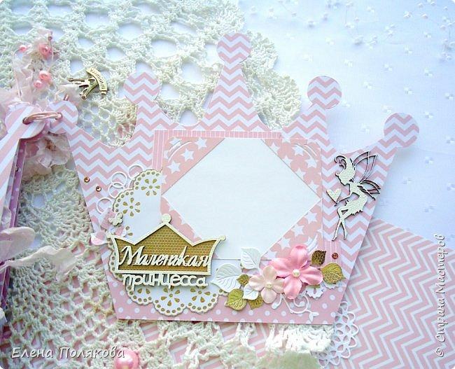 Добрый день! Сегодня я покажу мини-альбом для принцессы,  которая живет в розовой сказочной стране, где царит любовь, цветут золотые цветы и порхают феечки. фото 17
