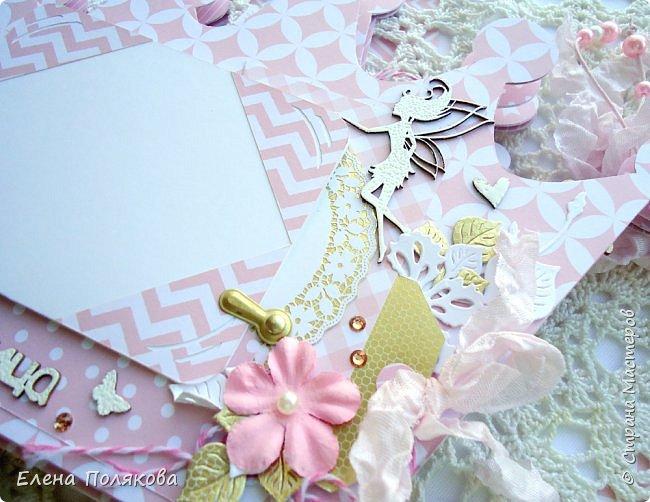 Добрый день! Сегодня я покажу мини-альбом для принцессы,  которая живет в розовой сказочной стране, где царит любовь, цветут золотые цветы и порхают феечки. фото 13