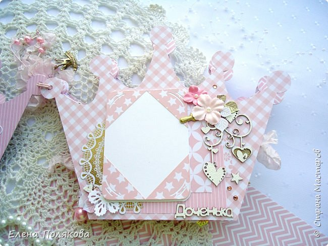 Добрый день! Сегодня я покажу мини-альбом для принцессы,  которая живет в розовой сказочной стране, где царит любовь, цветут золотые цветы и порхают феечки. фото 5