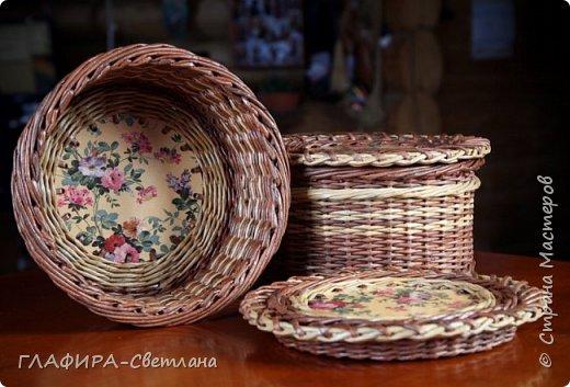 Плетёные изделия, комбинированные с декупажем фото 1