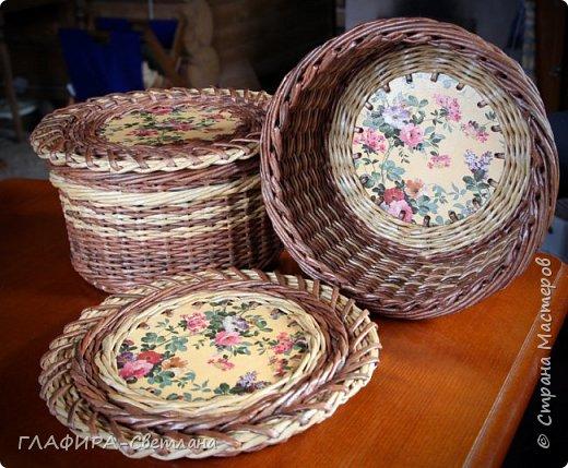Плетёные изделия, комбинированные с декупажем фото 3
