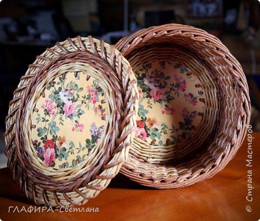 Плетёные изделия, комбинированные с декупажем фото 4