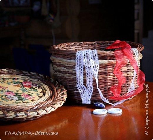 Плетёные изделия, комбинированные с декупажем фото 5