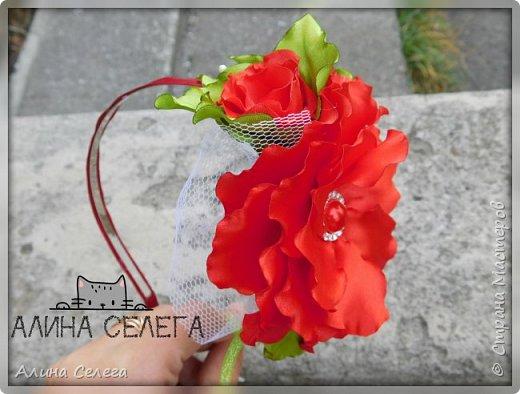 МК большой цветок на ободке и поясе / МК Алина Селега  фото 6