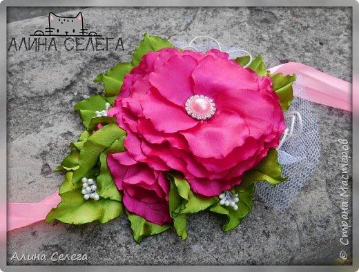 МК большой цветок на ободке и поясе / МК Алина Селега  фото 5
