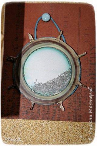 Альбом ручной работы на кольцах для любимых клиентов. Корабль выполнен в технике  3D. Стеклянная бутылочка в которую можно насыпать привезенный с курорта песочек.   фото 17