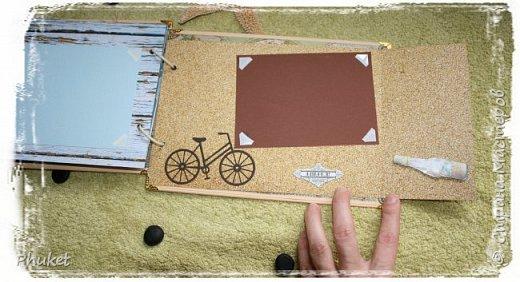 Альбом ручной работы на кольцах для любимых клиентов. Корабль выполнен в технике  3D. Стеклянная бутылочка в которую можно насыпать привезенный с курорта песочек.   фото 19