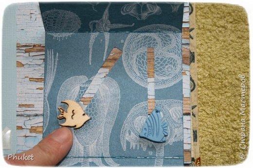 Альбом ручной работы на кольцах для любимых клиентов. Корабль выполнен в технике  3D. Стеклянная бутылочка в которую можно насыпать привезенный с курорта песочек.   фото 7