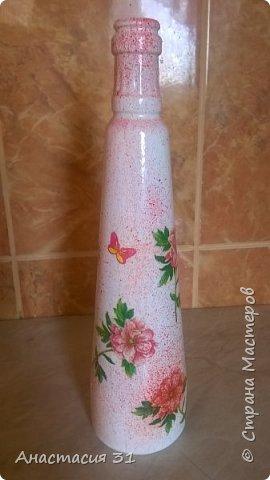 Посмотрев работы мастеров очень захотелось сделать и себе вазочку из такой бутылки фото 1