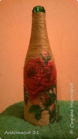 Посмотрев работы мастеров очень захотелось сделать и себе вазочку из такой бутылки фото 14