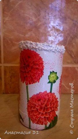 Посмотрев работы мастеров очень захотелось сделать и себе вазочку из такой бутылки фото 17