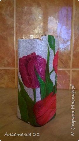 Посмотрев работы мастеров очень захотелось сделать и себе вазочку из такой бутылки фото 20