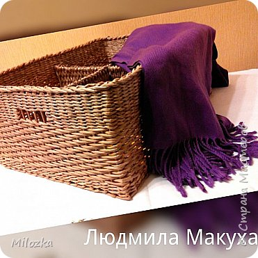 Короб с плетеными перегородками, 45*32*22см, дно картонное, декупаж салфеткой* фото 1