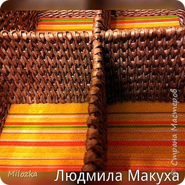 Короб с плетеными перегородками, 45*32*22см, дно картонное, декупаж салфеткой* фото 3