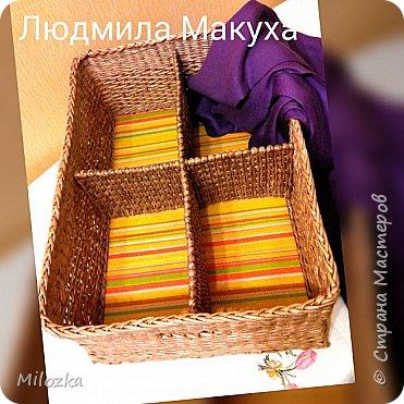Короб с плетеными перегородками, 45*32*22см, дно картонное, декупаж салфеткой* фото 2