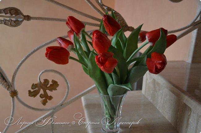 Мои эксперименты с красным продолжаются! На этот раз выбор пал на тюльпаны. Решила делать их не распустившиеся, но в бутоне мне показалось их делать сложнее чем в роспуске, хоть и минуя этап пестиков и тычинок. фото 2