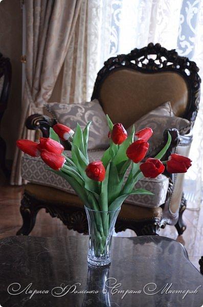 Мои эксперименты с красным продолжаются! На этот раз выбор пал на тюльпаны. Решила делать их не распустившиеся, но в бутоне мне показалось их делать сложнее чем в роспуске, хоть и минуя этап пестиков и тычинок. фото 7