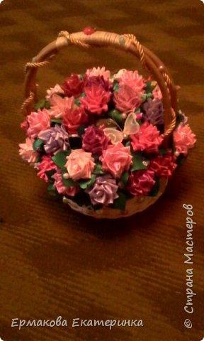 35 роз из атласной ленты (2,5 см) фото 6