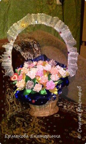35 роз из атласной ленты (2,5 см) фото 7